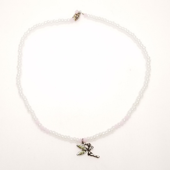 Other - Girls Disney Tinkerbell Charm White Pink Necklace